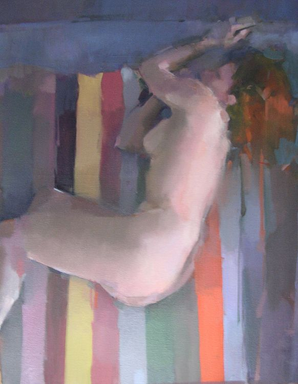 verticle pose. oil on canvas 87 x 61cm.  Unavailable.
