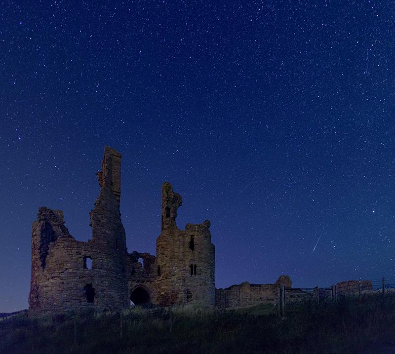 Perseid Meteor over Dunstanburgh