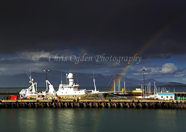 Rainbow over Reykjavik Harbour