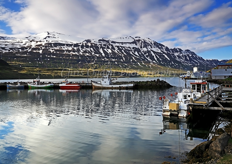 Harbour reflections at Seydisfjordur