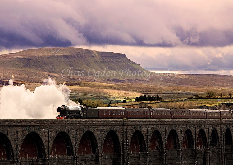 Flying Scotsman heading over Ribblehead Viaduct