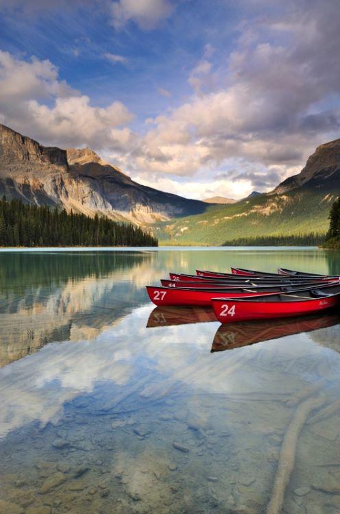Reflected Boats Emerald Lake Yoho