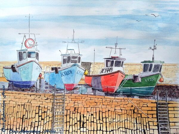Fishing Boats at Crail Harbour, East Neuk, Fife