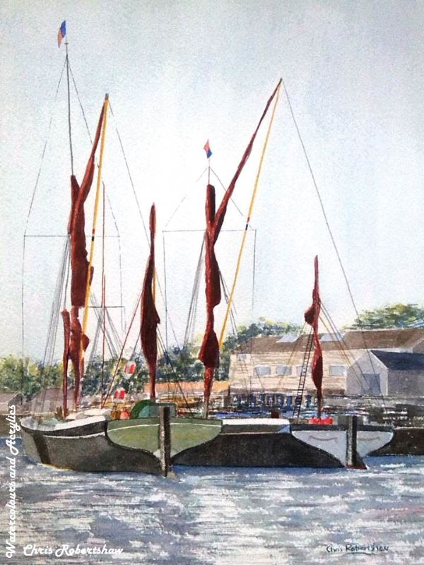 Thames Barges at Maldon Quayside