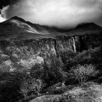 Eas Mor waterfall Skye mono