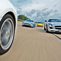 Mercedes SLS &Aston V12 Vantage group test