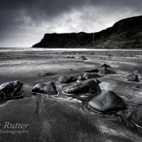 Talisker bay Skye rocks and  sand