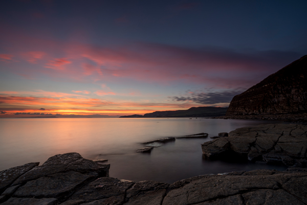 Kimmeridge ledges, Dorset, sunset