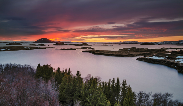 Lake Myvatn sunset, Iceland