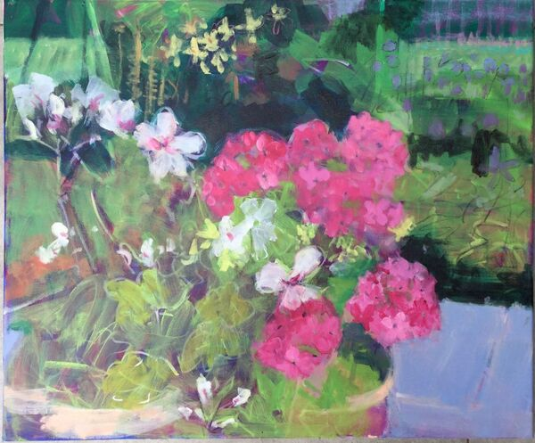 Large_flower_garden_painting_vibrant_colourful_geraniums-pots_pinks_white_greens_blue_