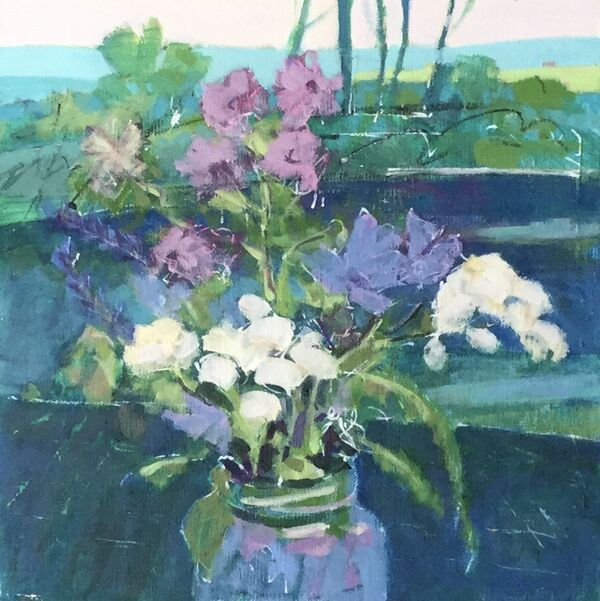 Flowers_stilllife_indigo_greens_blues_mauves_pinks_landscape_small_painting_panel_framed_forsale