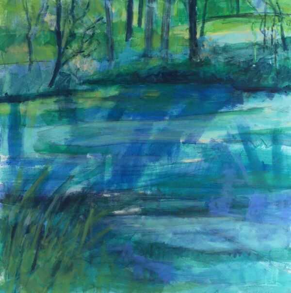 Still Water.    [Bodnant Gardens,  Wales] acrylic on canvas 70x70cms
