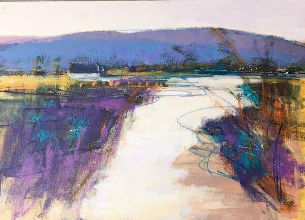 River-landscape-Scottish-highlands-Glen-Clova-tall-grasses-hills-blue-purples-