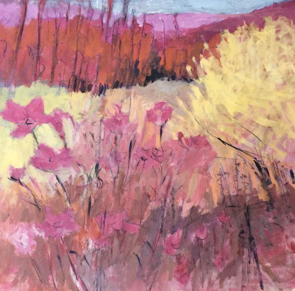 Flower Barrier. [Wild Garden series]. Approx 50x50cms framed