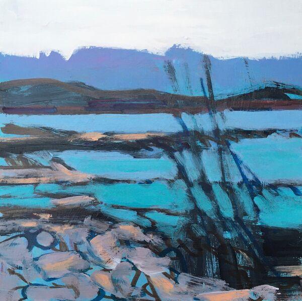 Semi abstract acrylic Seashore sea rocky shoreline hills blue green pale warm orange bright sky light small seascape 6x6inches