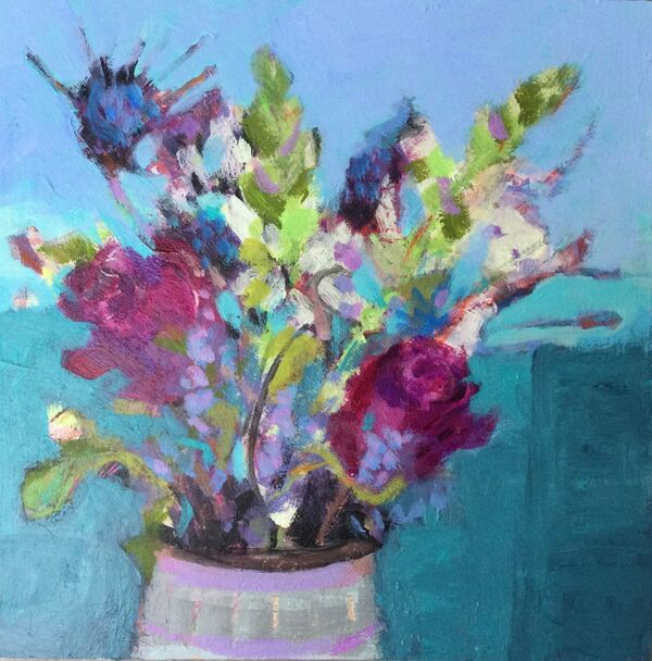 Floral art flowers in jug turquoise green blues cerise pinks vibrant small original on wood panel
