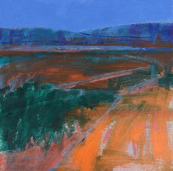 Semi abstract colourful landscape painting acrylic bright orange deep green blue sky hills vibrant colours framed