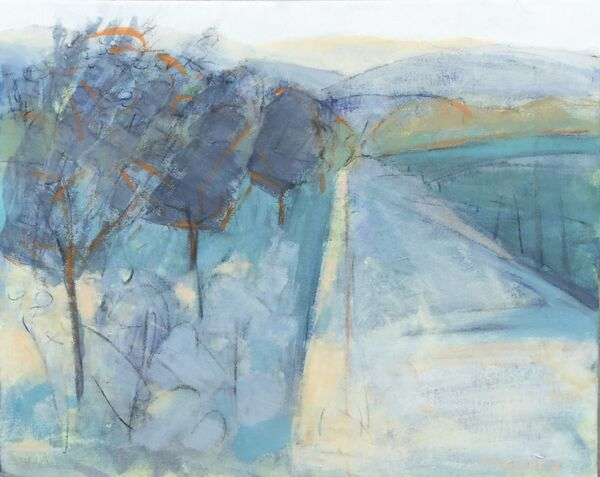 Landscape_blues_creams_road_GlenProsen_Scotland_mountains_trees_fields_canvas