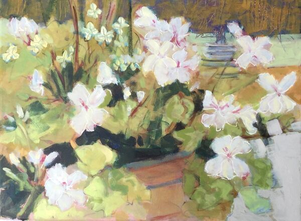 Mediumsize _painting_canvas_flowers_garden_geraniums_white_pot_vibrant_colourful_modern_contemporarystyle_decorative