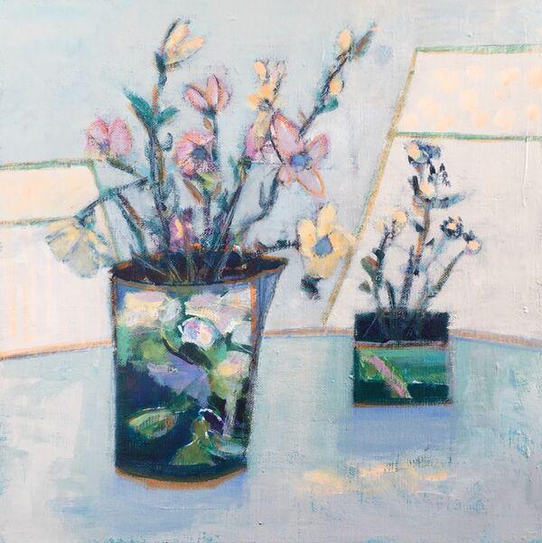 Flowers floral still life blue jug vase pale green mint acqua green calming quiet original artwork on panel