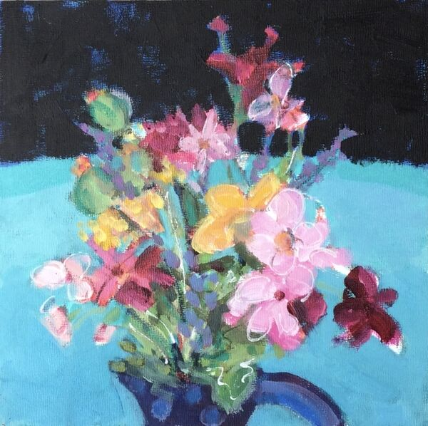 Small_painting_flowers_jug_stilllife_colourful_pinks_greens_acquamarine_dramatic