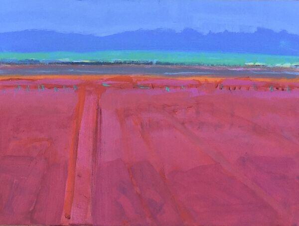Vivid vibrant colours Dark pinks land azure blue sky thin orange stripe marking the horizon acqua teal strip of distant land makes for a hot landscape