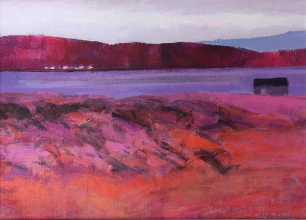 Across the Bay. Acrylic on canvas panel 14x10inches .Framed and available.