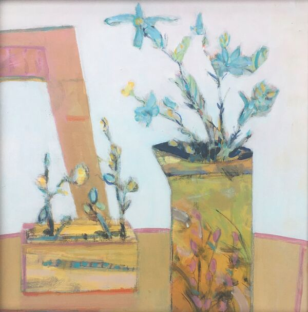 Still life white space flowers jug table colourful spring green yellow turquoise yellow gold ochre