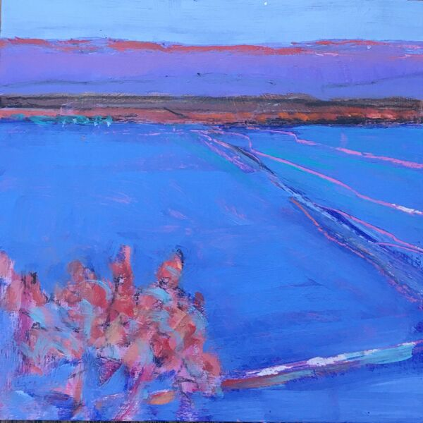 Blue landscape hills flat land pinks mauves ultramarine blue marked tracks small acrylic painting on wood 6x6inches