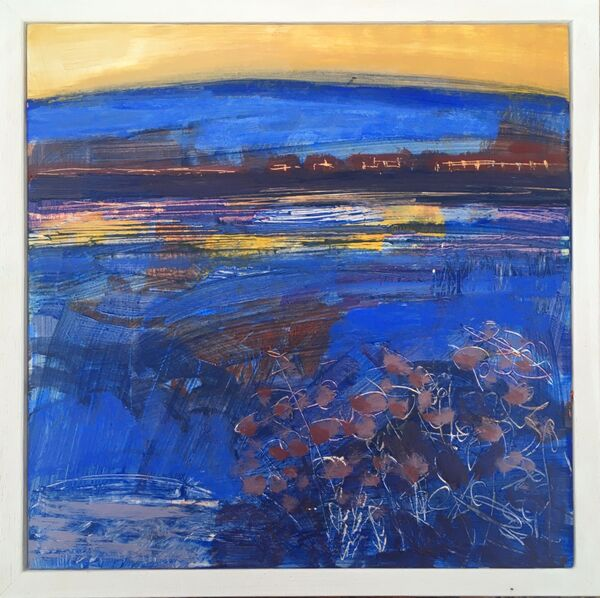 Water loch indigo royal blue gold yellow sky foliage small vibrant colourful landscape scotland framed