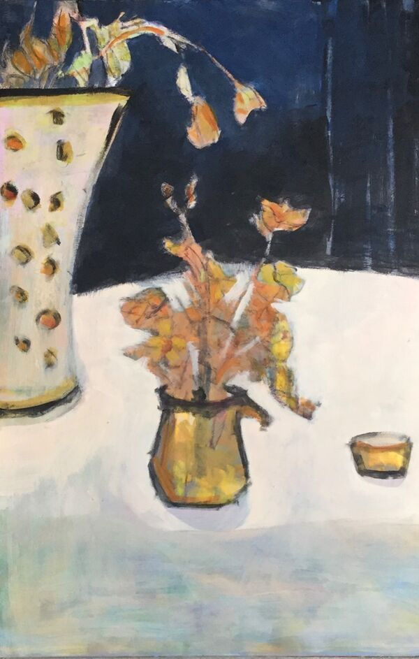 Stilllife-table-pale-colour-tall-vase-small-jug-autumn-flowers-deep-blue-background-large-panel-acrylic-warm-colours