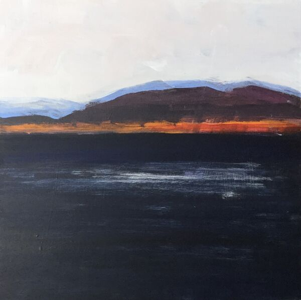 Darkblue_orange_dramatic_colour_mountains_seascape_small_square_acrylic_semiabstract