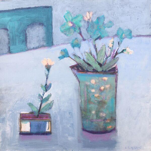 Blue still life table jugs vase floral flowers peachy pale orange calm quiet reflective square panel
