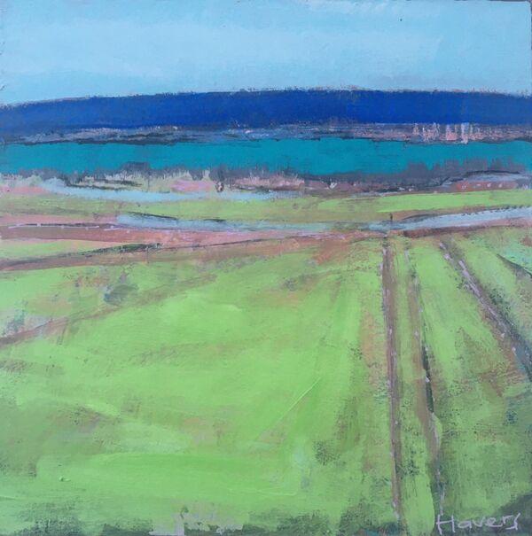 Green Irish Kerry landscape seascape blue sky hills Ireland fields