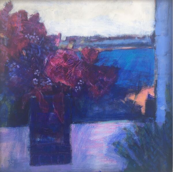 Blue violet vibrant colours with orange landscape and still life in the window acrylic on canvas panel framed