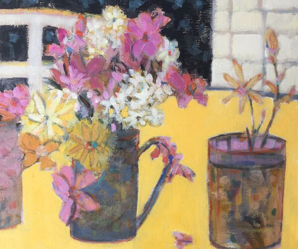 Flowers_table_jug_yellow_vibrant_colours_window_pink_mauves