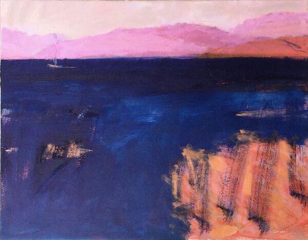 Indigo_blu_sea_orange_pink_rock_shoreline_boat_distance_moutains_Oil_unframed_canvas