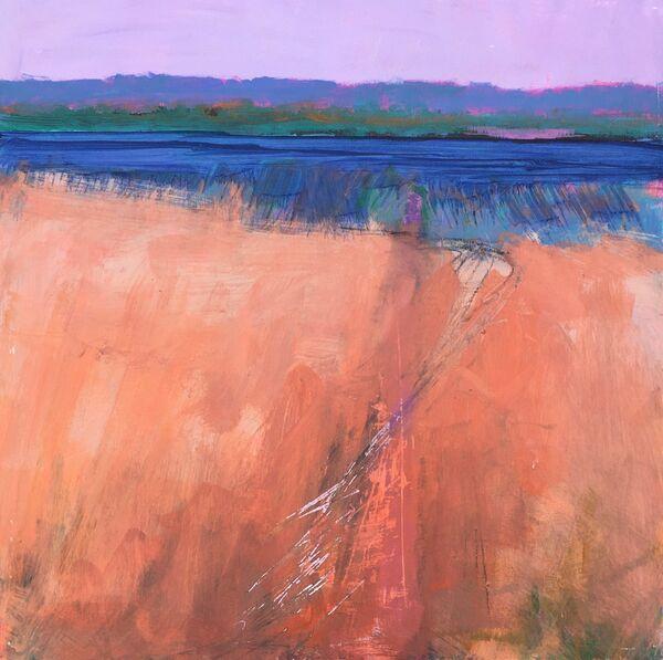 Colourful Meadow grasses orange lake Loch blue hills path Scotland landscape small square framed Original