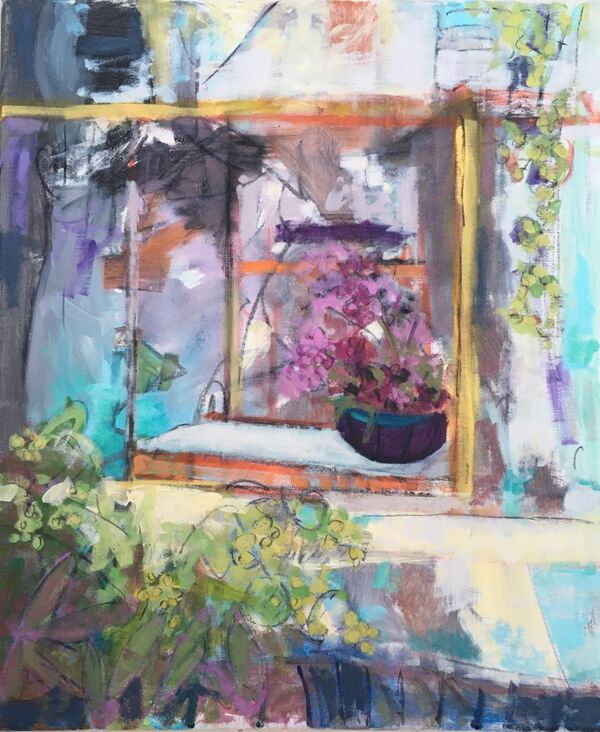 Dapple shade sunlight pot window windowsill colourful green turquoise pink orange cream large flowers floral