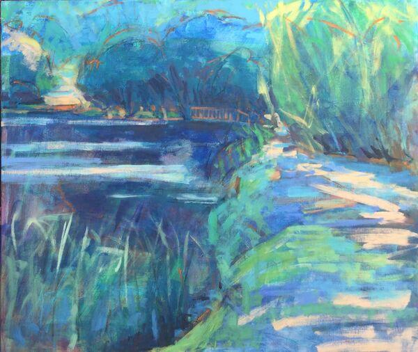 Large_blue_painting_canvas_water_pond_indigo_teal_ultramarine_blues_peach_orange_vibrant_colourful_path_alongside_lake