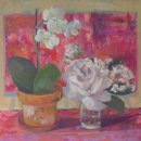 Orchid and Rose'   oil on canvas   40 x 40cms. £395. ± £25 shipping UK