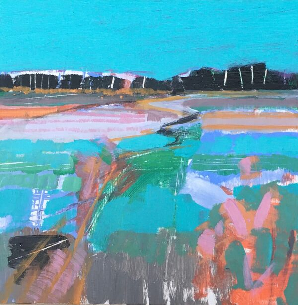 Land Jigsaw 3. Acrylic on wooden panel 6x6inches £75