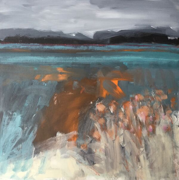 Nordic_scandi_landscape_tealblue_orange_turquoise_maountains_fields_water_small_square_acrylic_vibrant_