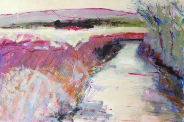 Large_canvas_water_stream_GlenClova_Scotland_pinks_cerises_vibrant_colourful_bank_hills_trees_Scottish_landscape