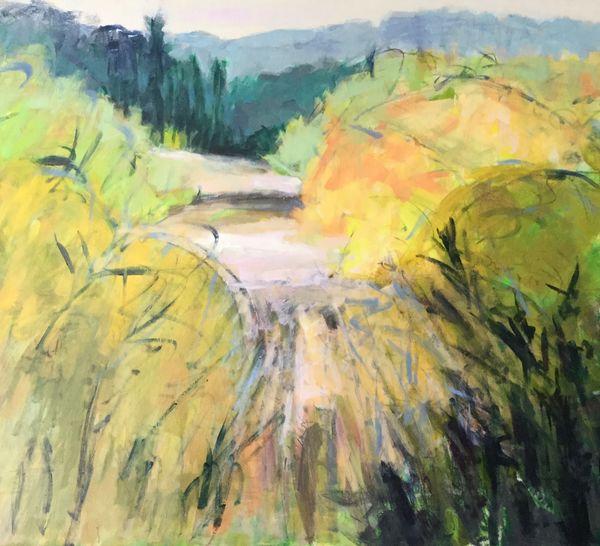 Grass Flow [Wild Garden series]. Acrylic on canvas approx 50x50cms framed