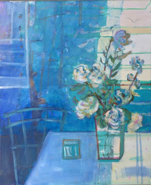 Still_life_canvas_painting_blues_indigo_teal_vibrant_colours_peaceful_glassvase_roses_white_bright
