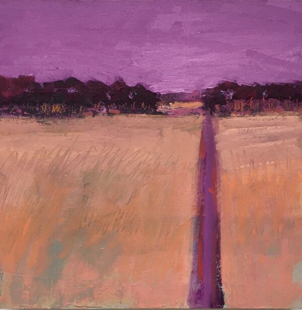 Amethyst sky subdued orange field with track leading to dark violet crimson tree line with hedge
