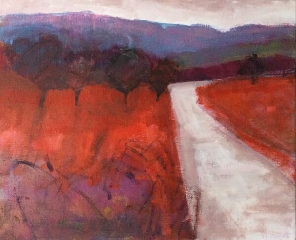 Weather Clearing. 18x15inches unframed red landscape original canvas Scottish Glens landscape vibrant colours road hills trees