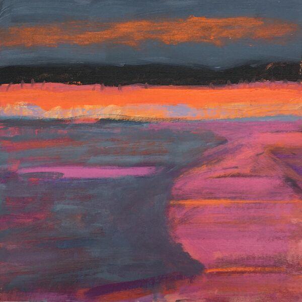 Semi abstract landscape vibrant orange dark grey sky with orange clouds dark pink curve of land against violet gre field area