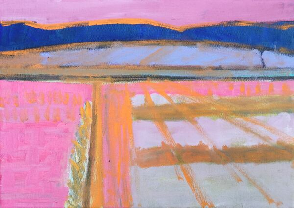 Vibrant colourful semi abstract landscape with dark blue hills in distance paler blue hills in front outlined with orange and land is pink with orange road and tractor lines on land suggested by pale grey green stripes.